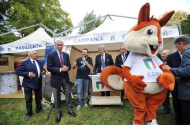Il presidente del Coni Giovanni Malagò ha inaugurato il Villaggio dello Sport ed aperto a Caserta il Trofeo Coni.