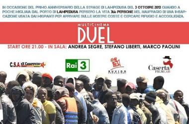 Andrea Segre, Marco Paolini e Stefano Liberti al Duel Village per ricordare la strage di Lampedusa del 3 ottobre 2013