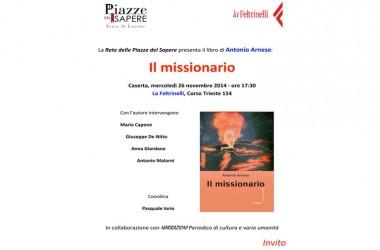 """Caserta – Presentazione del libro """"Il missionario"""""""