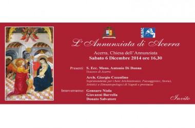 6 dicembre alle 16 e 30, presentazione della Tavola quattrocentesca dell'Annuncio nella chiesa dell'Annunziata di Acerra