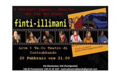 """L'Associazione Te.Co Teatro di Contrabbando in collaborazione con i Finti-Illimani presenta: """"A Sud dell'Impero: Musiche dal Sud del Mondo"""""""
