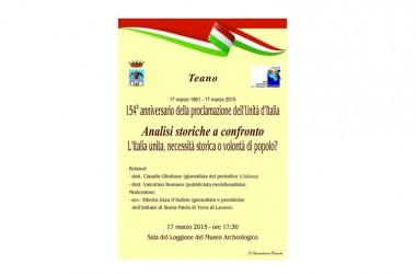 A Teano, convegno celebrativo del 154° anniversario dell'Unità d'Italia