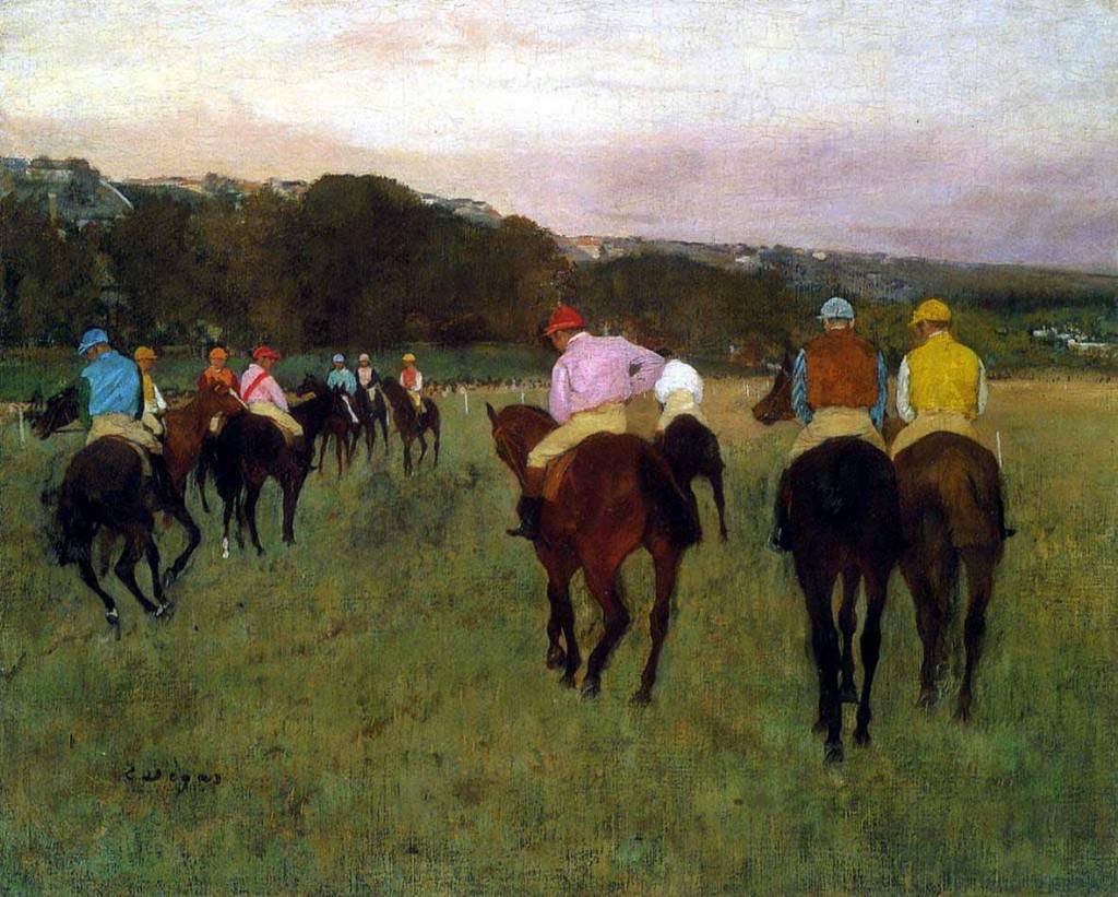 Corsa di cavalli a Longchamp, 1871 (probabilmente rielaborato nel 1874)