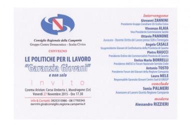 """Convegno: Le politiche per il lavoro """"Garanzia Giovani"""""""
