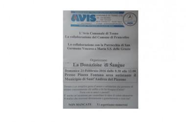 Carenza di sangue negli ospedali, domenica 21 Febbraio, AVIS  in piazza, a Sant'Andrea del Pizzone