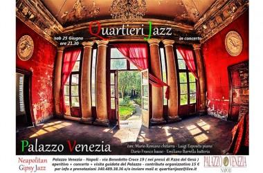 """"""" MUSICA ARTE E STORIA """" – SABATO 25 GIUGNO ALLE ORE 21.30 QUARTIERI JAZZ ENSEMBLE A PALAZZO VENEZIA"""