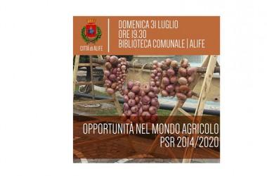 """Domenica 31 Luglio ore 19.30 presso la Biblioteca Comunale di Alife, piazza Termini, si terrà un incontro sulle """" Opportunità nel mondo agricolo """""""
