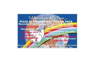 """""""Pizza di solidarietà per la Pace"""" evento organizzato dal """"Movimento Internazionale per la Pace e la Salvagurdia del Creato III Millennio"""""""