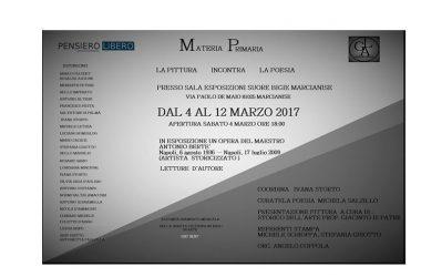 """Marcianise, apre i battenti """"Materia Prima – La Pittura incontra la Poesia"""" dal 4 al 12 marzo 2017"""
