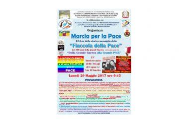 Lunedi 29 Maggio la Fiaccola della Pace arriva in Città. Marcia per la Pace con i giovani dell' Istituto Comprensivo.