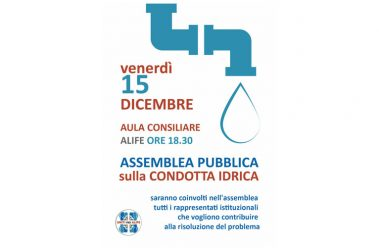 Un'Assemblea Pubblica sulla condotta idrica, venerdì ad Alife
