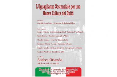 70° ANNIVERSARIO DELLA COSTITUZIONE ITALIANA, IL MINISTRO ORLANDO AL CONVEGNO PROMOSSO DALL'ON. SGAMBATO (PD) SULL'EGUAGLIANZA SOSTANZIALE PER UNA NUOVA CULTURA DEI DIRITTI.