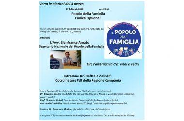Doppio appuntamento il 27 febbraio: Gianfranco Amato  presenta i candidati del Popolo della Famiglia dei Collegi casertani