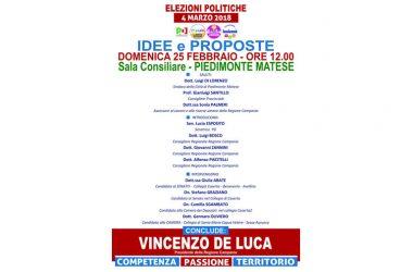 """Elezioni Politiche, """"Idee e Proposte"""": Vincenzo De Luca a Piedimonte Matese"""