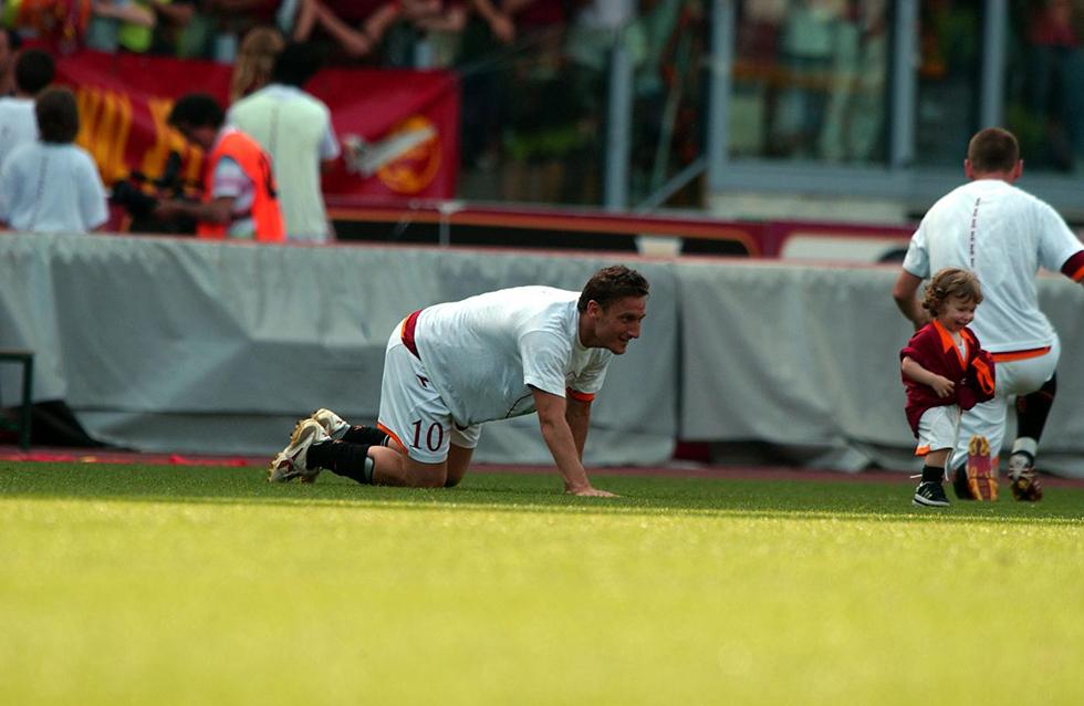 Francesco Totti con suo figlio Cristian (Lapresse)