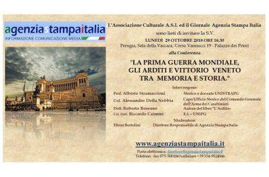 PRIMA GUERRA MONDIALE: A 100 ANNI DA VITTORIO VENETO, AGENZIA STAMPA ITALIA RICORDA GLI ARDITI A PERUGIA