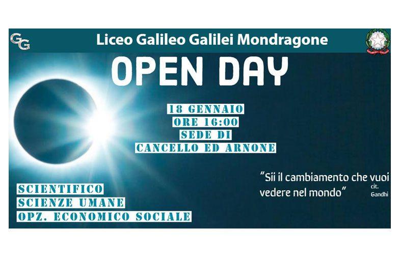 """AL LICEO  """"GALILEO GALILEI""""di MONDRAGONE, SEDE DI CANCELLO ED ARNONE, TUTTO E' PRONTO PER L'OPEN DAY DI VENERDI' 18 p.v"""