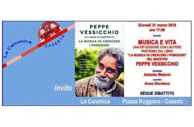 """Caserta – Il Maestro Peppe Vessicchio, a """"La Canonica""""  parlerà di """"Musica e Vita"""" prendendo spunto dal suo libro """"La musica fa crescere i pomodori""""."""