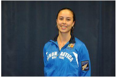 Universiadi 2019: Rebecca Gargano, atleta AM e medaglia d'oro della squadra di sciabola, allo stand espositivo dell'Aeronautica Militare a Caserta