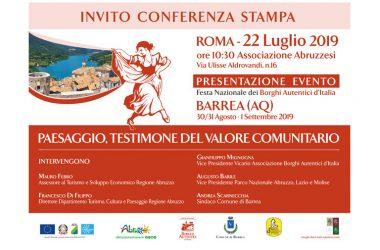FESTA NAZIONALE DEI BORGHI AUTENTICI D'ITALIA: Invito Conferenza Stampa – ROMA lunedì 22 Luglio ore 10,30 (Casa delle Regioni-Via Aldrovandi, 16)