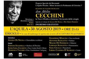 """Reading di teatro musicato """"Don Attilio Cecchini"""", L'Aquila 30 Agosto 2019 all'Emiciclo"""