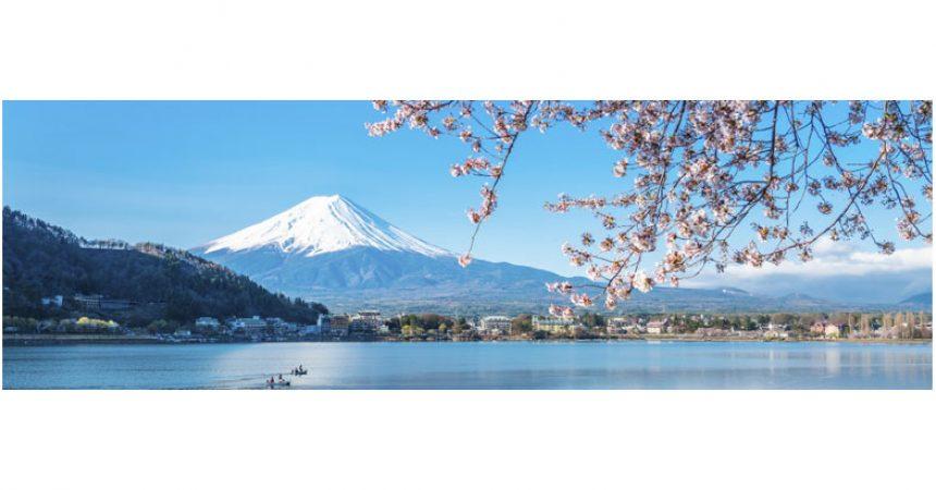 Monte Fuji nella primavera Paesaggio giapponese biglietto d auguri