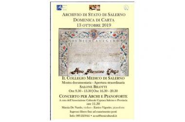 """Archivio di Stato di Salerno """"Domenica di Carta"""" 13 ottobre 2019"""