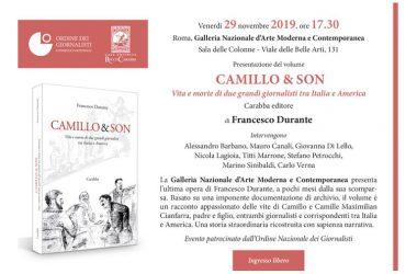 Presentazione del volume Camillo & Son. Vita e morte di due grandi giornalisti tra Italia e America di Francesco Durante