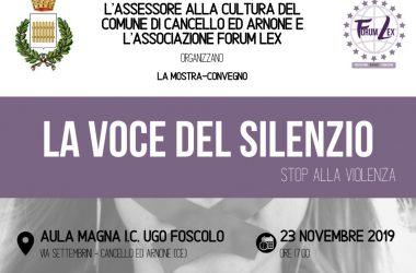"""Cancello ed Arnone: """"La voce del silenzio"""", la mostra-convegno sulla violenza di genere. Sabato 23.11.2019 ore 17:00."""