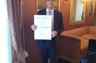 Giovanni  Di Monde nominato dal Presidente Mattarella Ufficiale al Merito della Repubblica  Italiana