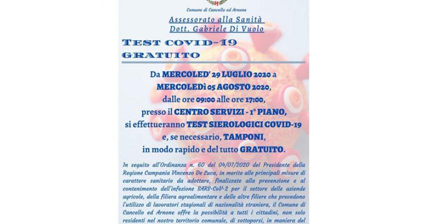 Cancello ed Arnone: parte oggi la settimana di screening sierologici  gratuiti.