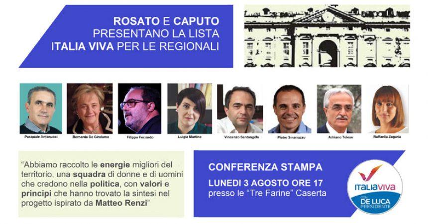 LUNEDI ROSATO E CAPUTO PRESENTANO LA LISTA ITALIA VIVA CASERTA PER  LE REGIONALI