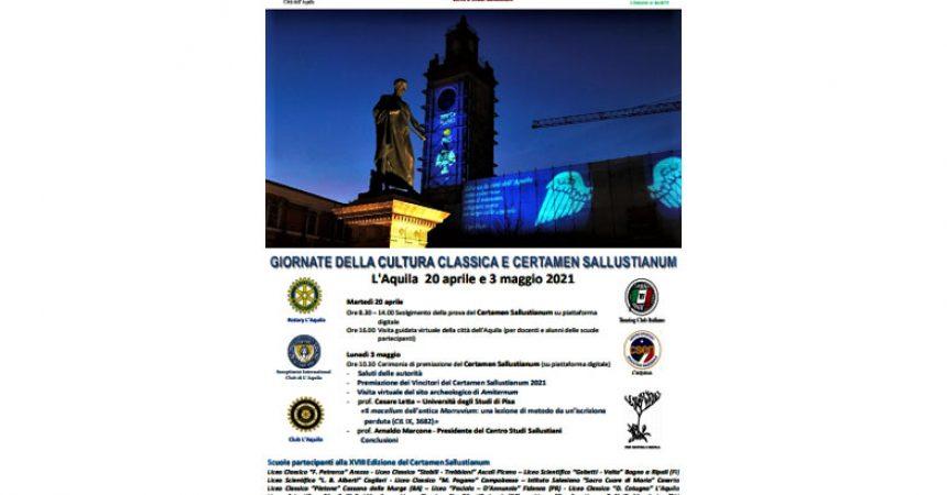 Martedì 20 aprile 2021 si terrà la XVIII edizione del Certamen Sallustianum