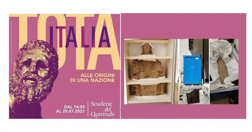 Museo Campano: Una delle Matres ed una stele in viaggio per la mostra