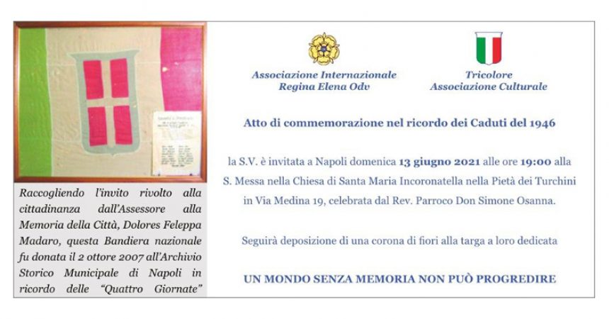 Regina Elena ricorda i caduti a Napoli