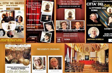 """PREMIO LETTERARIO """"CITTA' DEL GALATEO"""" 2021 – Gli Autori italiani vincitori e premiati speciali. La premiazione il 14 ottobre a Roma, presso la Dante"""