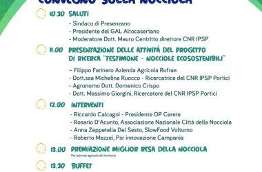 WHY NUT?!, DOMENICA 26 A PRESENZANO CONVEGNO SULLA NOCCIOLA CON LA PRESENTAZIONE DEL PROGETTO DI RICERCA TESTIMONE.